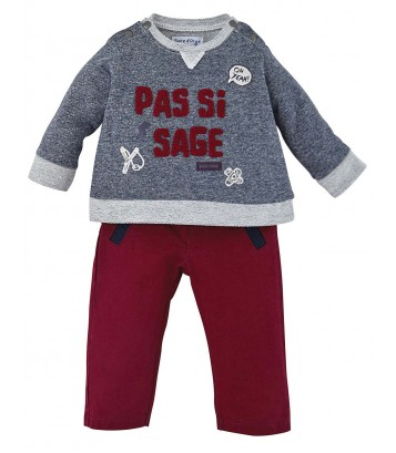 SWEAT-SHIRT + PANTALON BEBE ROUGE/BLEU Sucre Orge