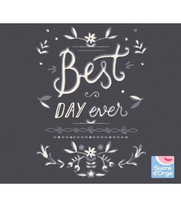 "TEE SHIRT FILLE ANTHRACITE ""BEST DAY"" Sucre Orge"