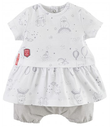 ENSEMBLE ROBE ET BLOOMER BEBE FILLE sucre d'orge