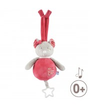 SUJET MUSICAL SOURIS ROSE Sucre Orge