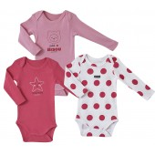 LOT DE 3 BODIES BEBE ROSE/FUCHSIA