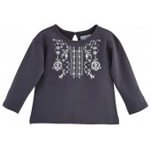 "SWEAT SHIRT FILLE ANTHRACITE ""BEST DAY"""