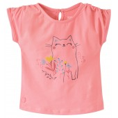 TEE-SHIRT FILLE ROSE MANCHES COURTES