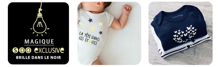 vêtement naissance blanc bébé, vetement noir bebe, vetement phosphorescent