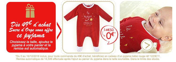 Un pyjama bébé de noël offert*  dès 49€ d'achat !
