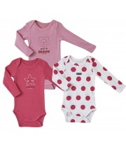 LOT DE 3 BODIES BEBE ROSE/FUCHSIA Sucre Orge