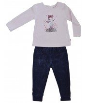 PYJAMA FILLE ANTHRACITE/ROSE  2/8 ANS