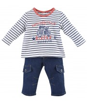 T SHIRT RAYÉ ET PANTALON DENIM BEBE