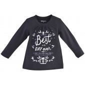 "TEE SHIRT FILLE ANTHRACITE ""BEST DAY"""