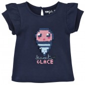 TEE-SHIRT MARINE FILLE 2/8 ANS THE VERT