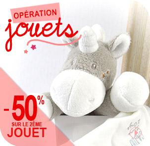 -50% sur le 2ème jouet sur une sélection d'articles présente dans la catégorie doudous et jouets Sucre d'Orge